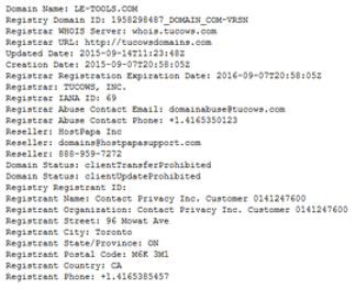 WHOIS Record Sample
