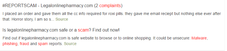 Legalonlinepharmacy Customer Complaints