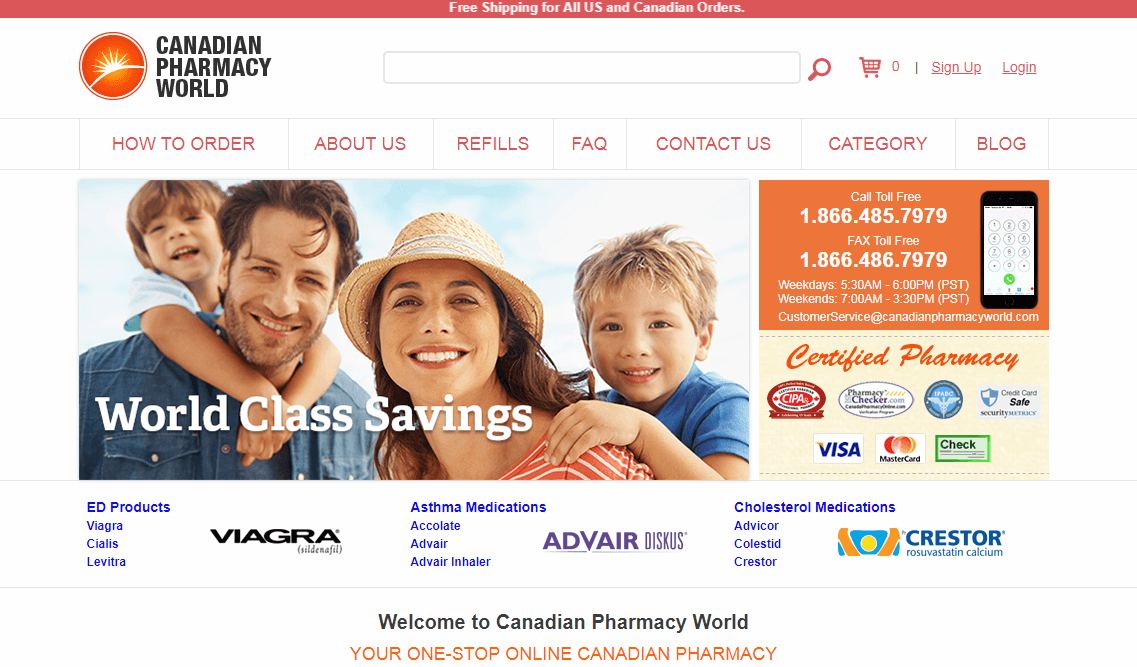 Canadian World Pharmacys Home Page