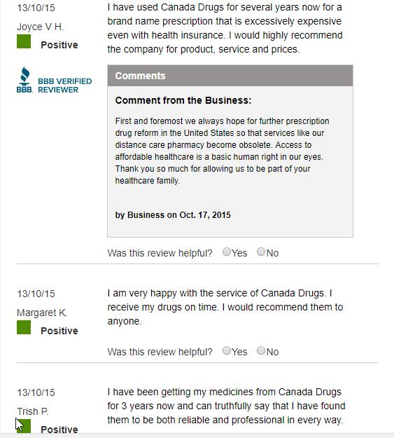 Legitimate Canadian Pharmacy Reviews (source: https://www