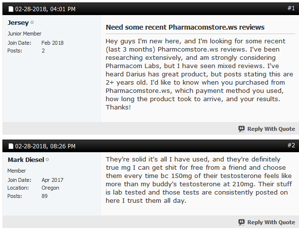 Some buyers have sought advice regarding others recent experiences with Pharmacom Store
